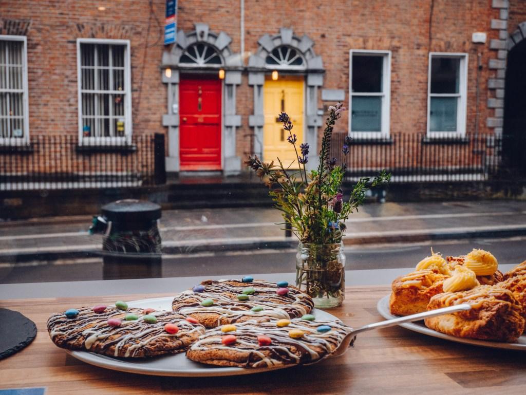 Cookies on the window of LaRivista Market in Kilkenny Ireland