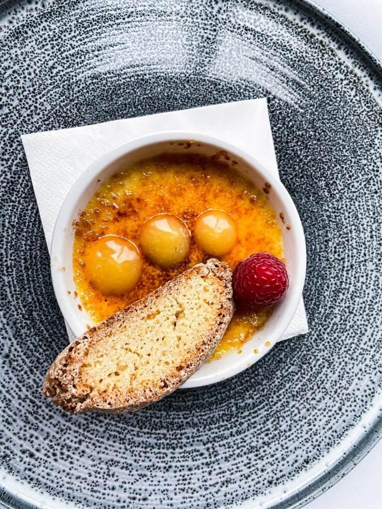 Creme Brulee dessert served at the Lyrath Estate in Kilkenny Ireland