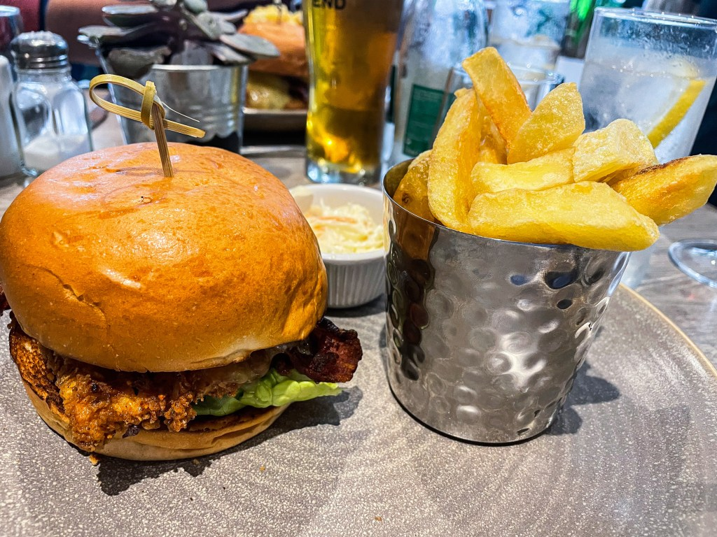 Burger and chips on the garden terrace at Langton's Kilkenny Ireland