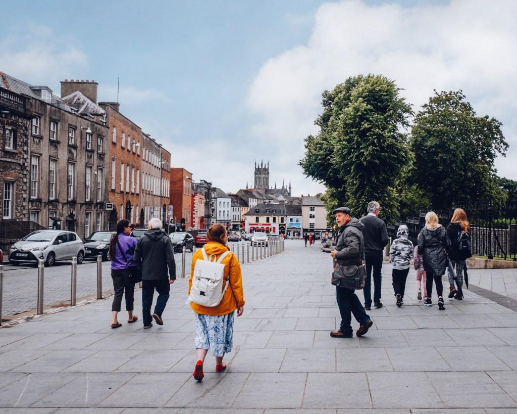Group of Irish visitors on a walking tour of Kilkenny Ireland