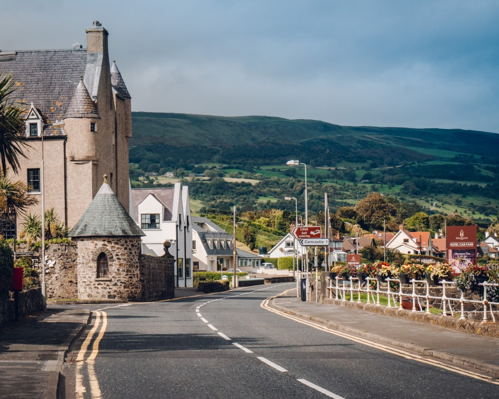 Street in Ballygally County Antrim in Northern Ireland