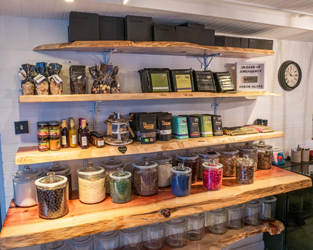 Sleeves stocked full of chocolate products at Co Couture Chocolate shop in Belfast city Northern Ireland