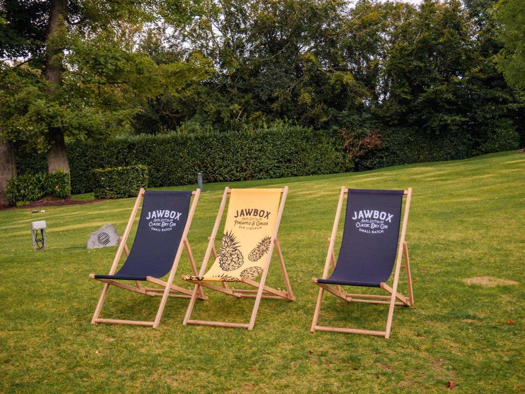 Three deckchairs on the lawn of the Culloden estate and spa