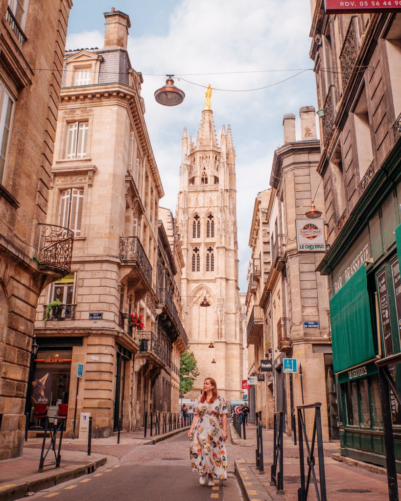 View of the Pey Berland Tower from Rue Du Loop in Bordeaux France, Day 2 of Bordeaux itinerary