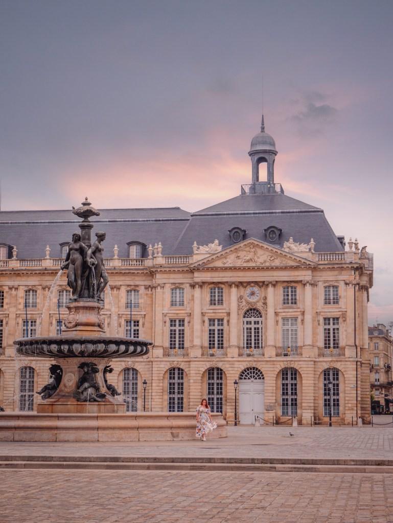 Place de la Bourse in Bordeaux France at sunset