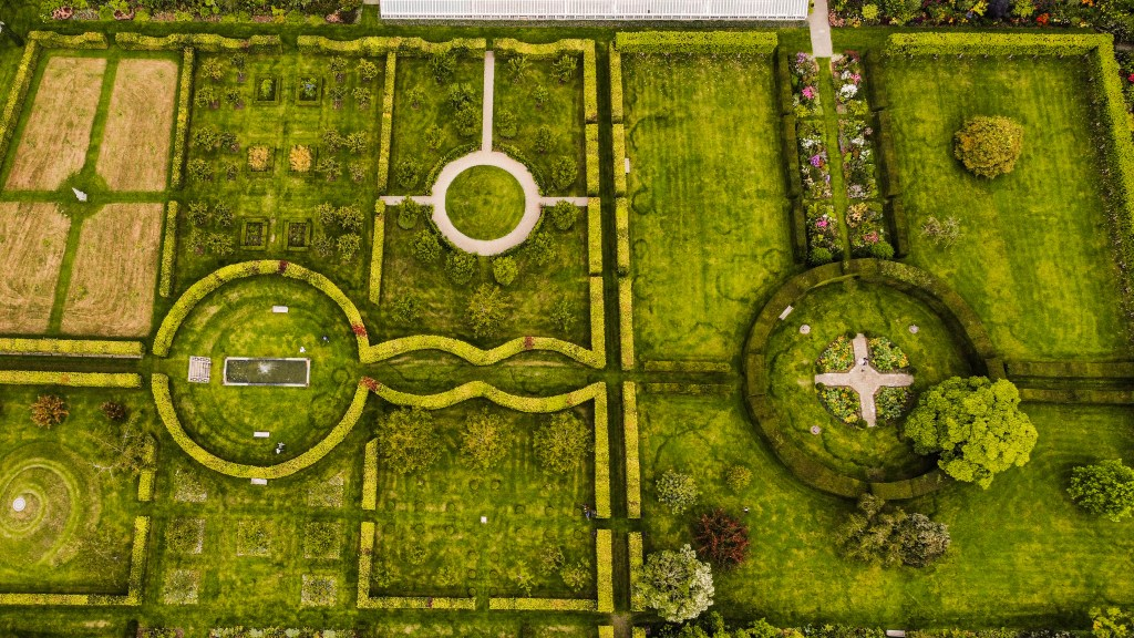 Aerial view of the walled gardens at Glenarm Castle a hidden gem along the Antrim Coastal Route