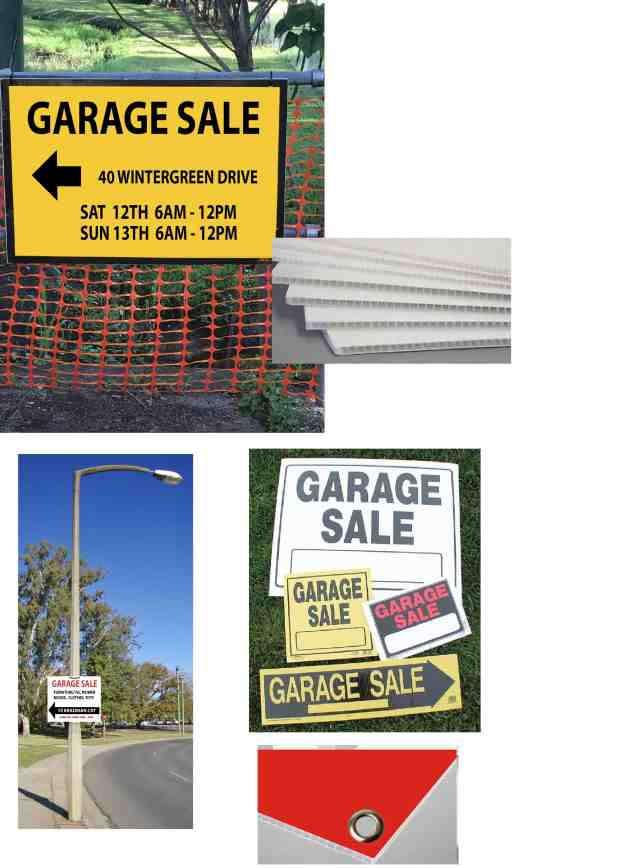 we make garage sale signs on the Gold Coast