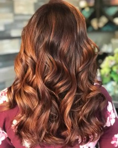 natural medium brown hair with light copper highlights