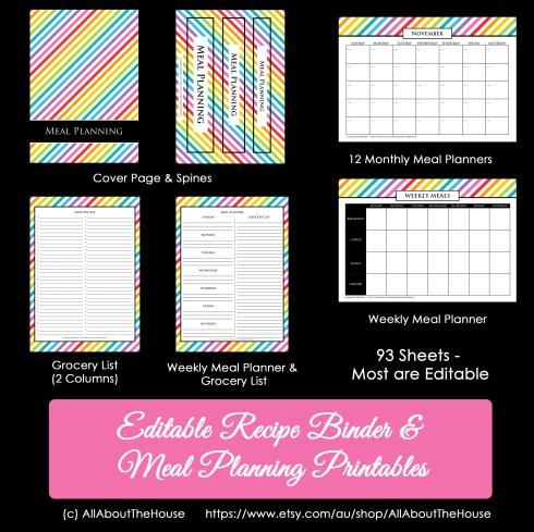 Rainbow Recipe Binder Meal Planner2