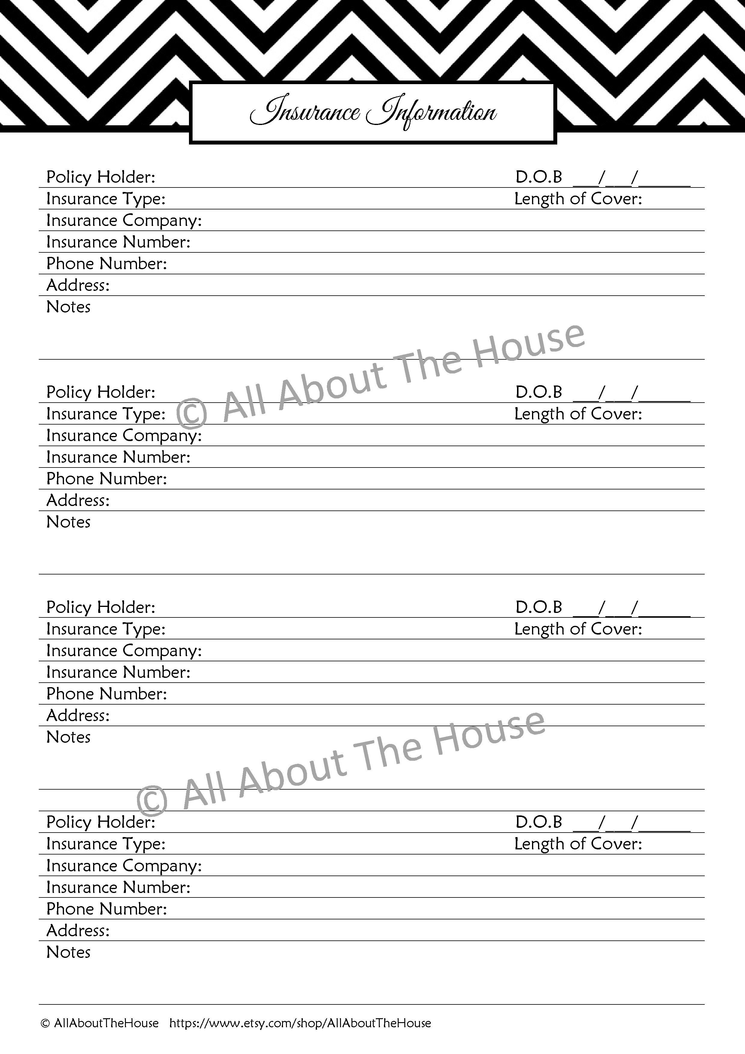 The Important Information Set Household Binder Printables