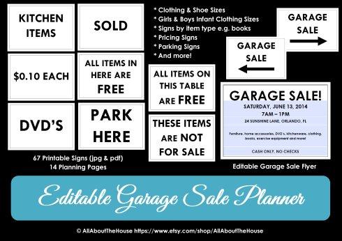 Garage Sale Planner printable yard sale