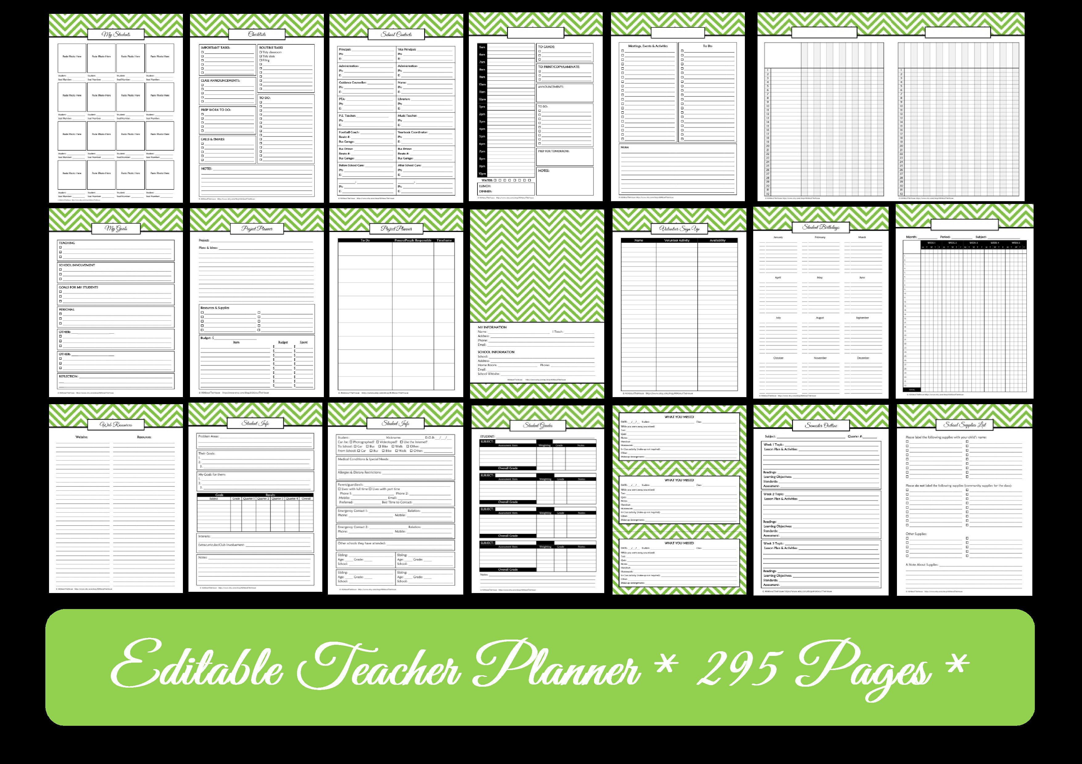 Editable Chevron Printable Teacher Planner