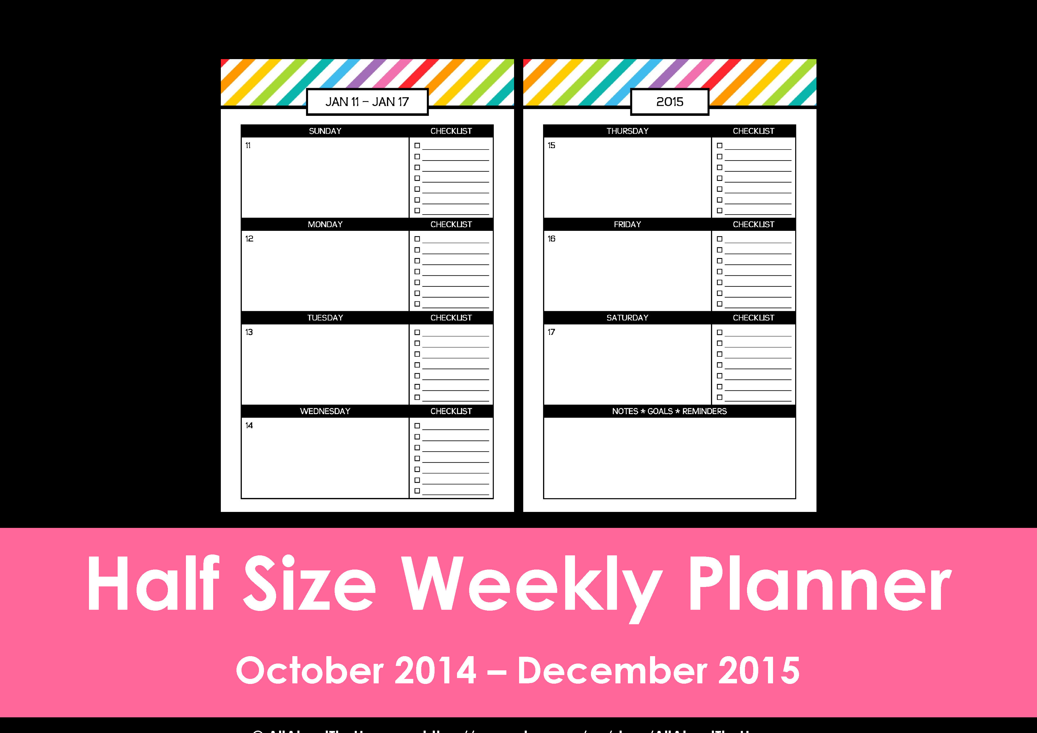 New Half Size Printable Planners For