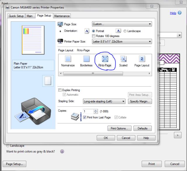 custom page size printing step 2