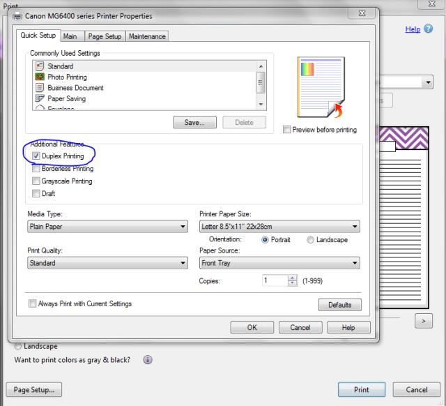 Duplex printing instructions step 1