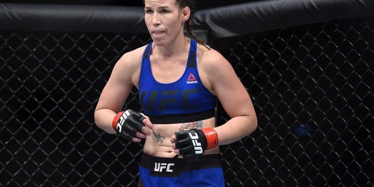 Jul 16, 2017; Glasgow, Scotland, United Kingdom; Leslie Smith (red gloves) prepares to fight Amanda Lemos (not pictured) during UFC Fight Night at SSE Hydro. Mandatory Credit: Per Haljestam-USA TODAY Sports