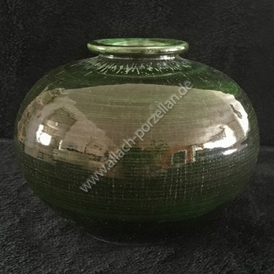 #503 Clay vase, painted green with glazing