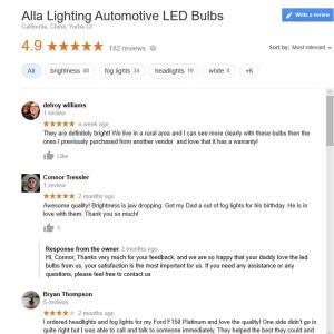 Alla Lighting Customer Reviews for Car Truck LED Headlight Fog Lights Bulbs