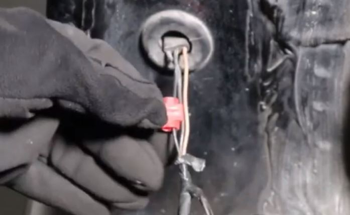 insert t-tap to vehicle ground wire but not cut through