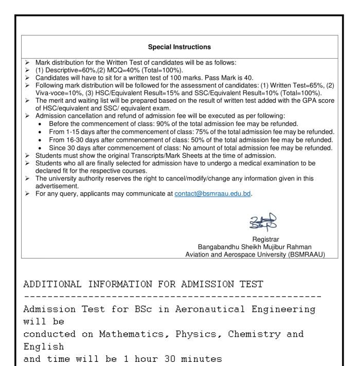 BSMRAAU admission