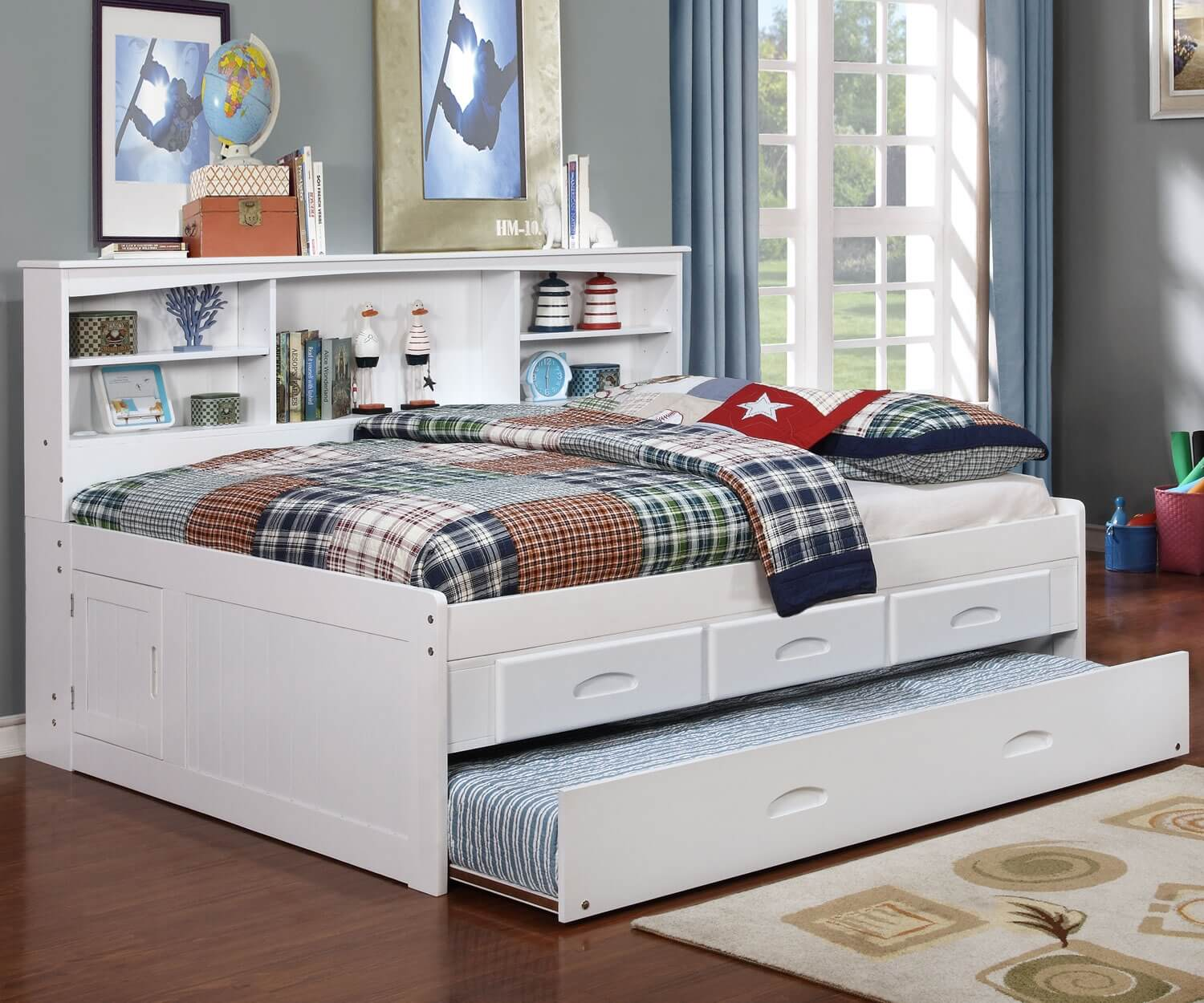 White Full Bookcase Daybed