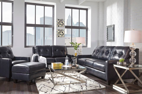 OKean Navy Leather Living Room All American Furniture