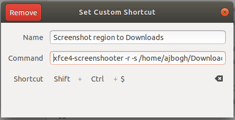 Screenshot region to Downloads