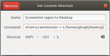 Screenshot region to Desktop