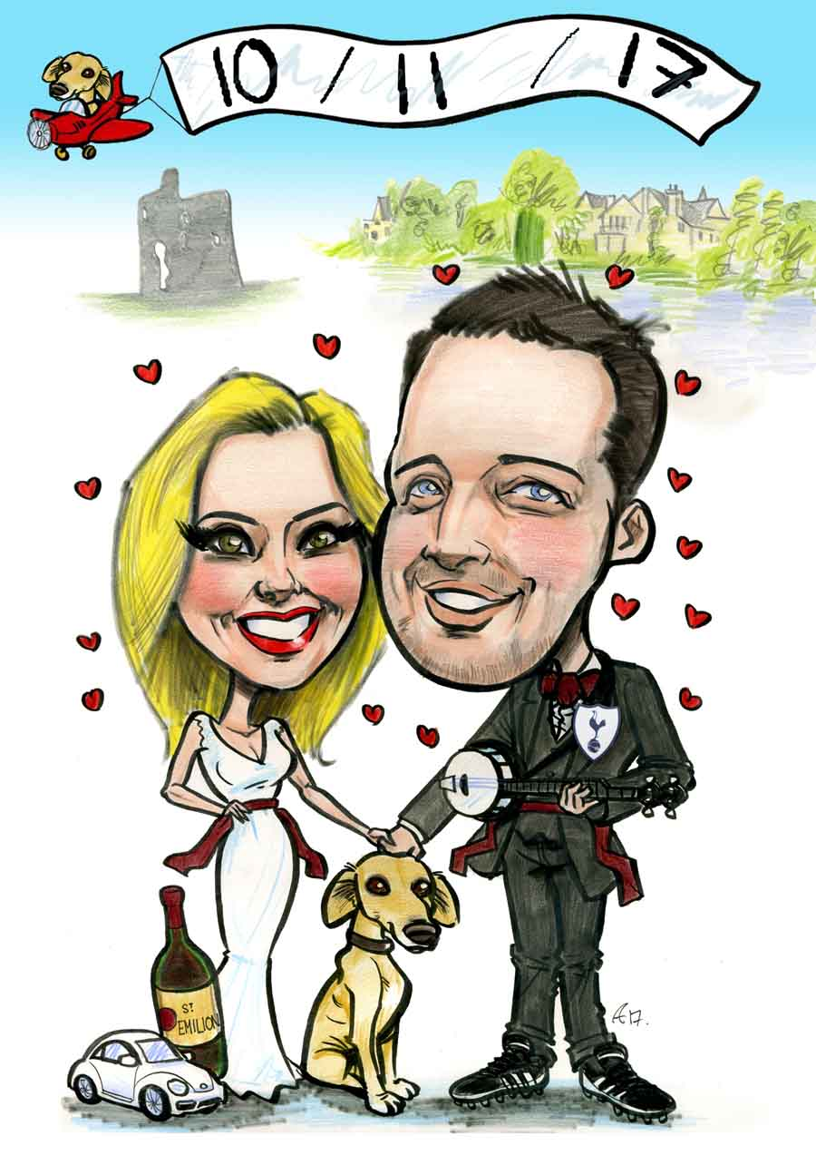 Wedding invitation caricature artwork Ireland by Allan Cavanagh