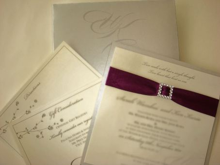 Dreamy square invitation with ribbon and buckle detail