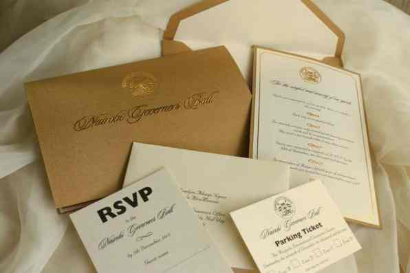 Gold, cream and black invitation ensemble done for the Governor's ball