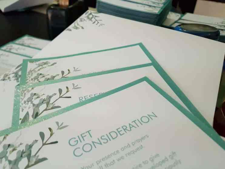 Teal & White layered invitations