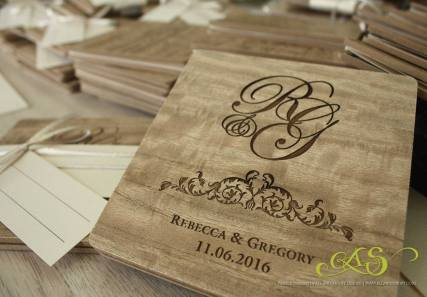 Wood engraved square wedding invitation