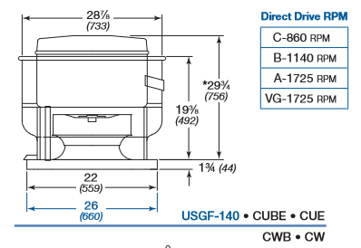 CUE141 CW141 Series Direct Drive Greenheck Exhaust Fan All