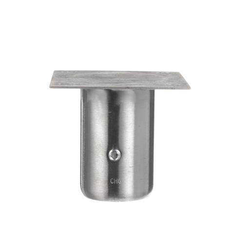 """1-5/8"""" x 3-1/8"""" H Stainless Steel Leg Socket With 3-1/2"""" x 3-1/2"""" Welded Mounting Plate"""