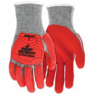 "127-UT1954L UT1954 UltraTechâ""¢ A5/Impact Level 1 Mechani Knit Glove, Large, Salt/Pepper; Red"