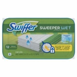 608-95531PK Swiffer Wet Refill Cloths, Open Window Fresh, Cloth, White, 8 x 10, 12/Tub
