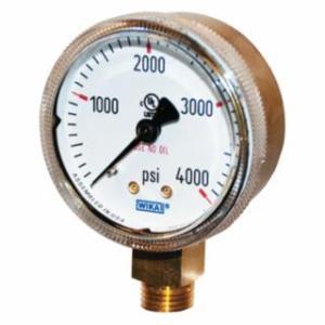759-2-4000 2 in Brass Gauge, 4,000 psi, 1/4 in (NPT)