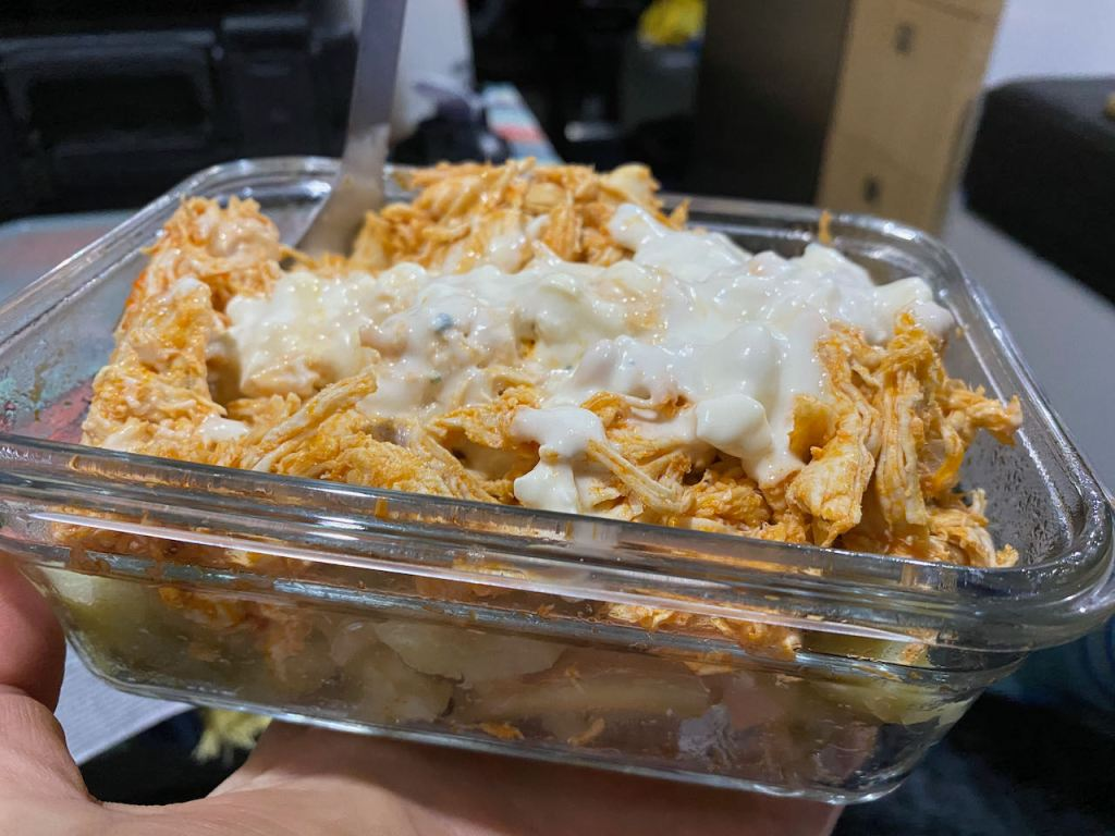 Buffalo chicken and sweet potatoes in the van