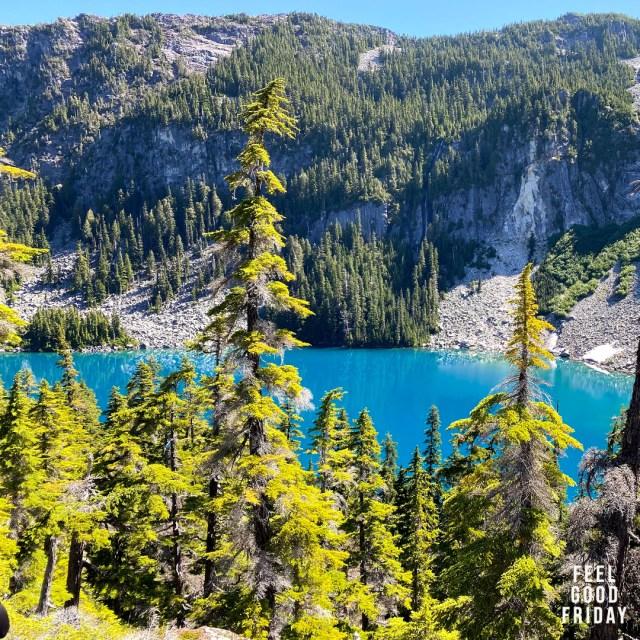 Feel Good Friday - Mitch Rapp - Pretty Lakes - Head Nets by Joe Bauer of all around joe hiking near a beautiful blue lake