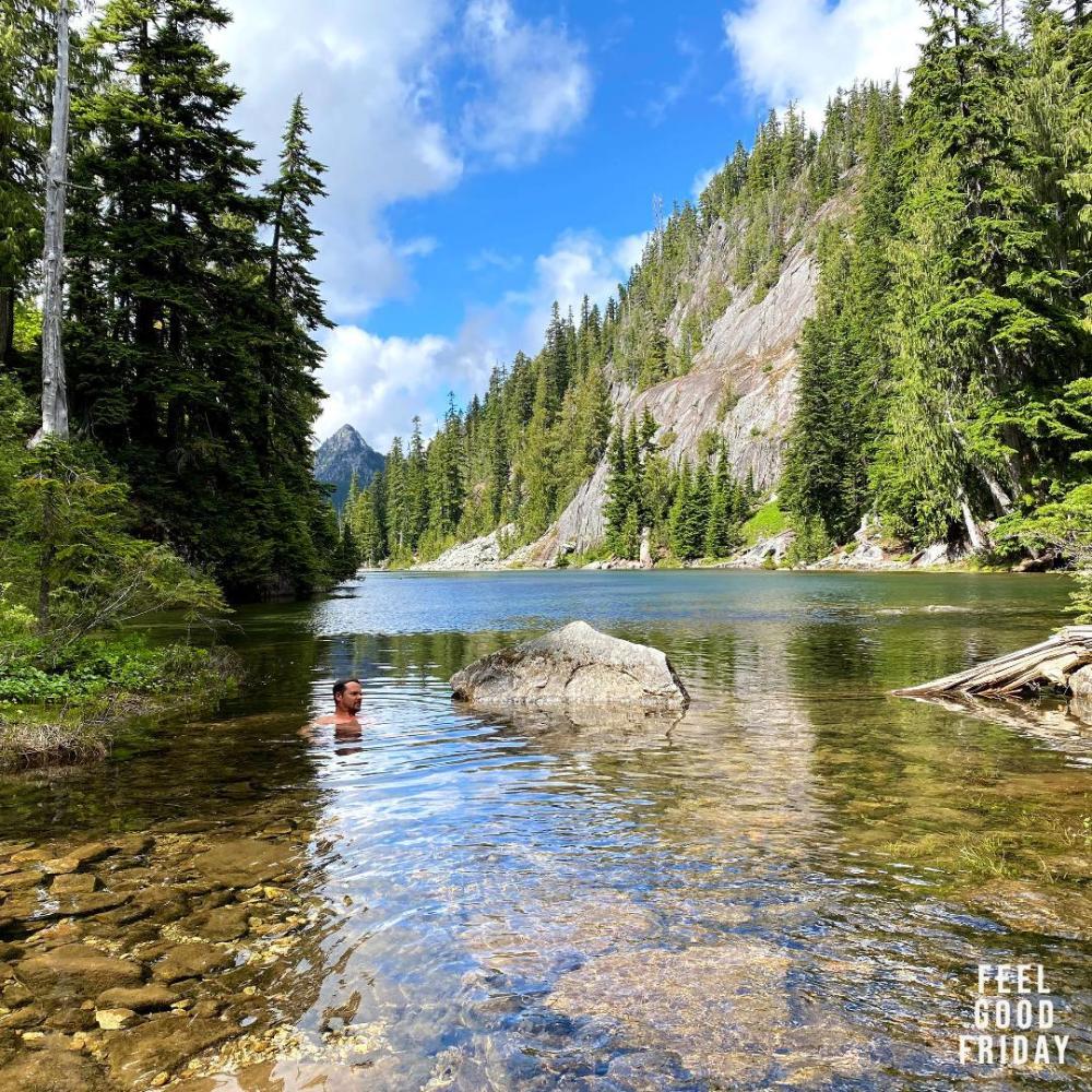 Feel Good Friday - WeBoost - Top-Heavy Running by Joe Bauer sitting in a lake