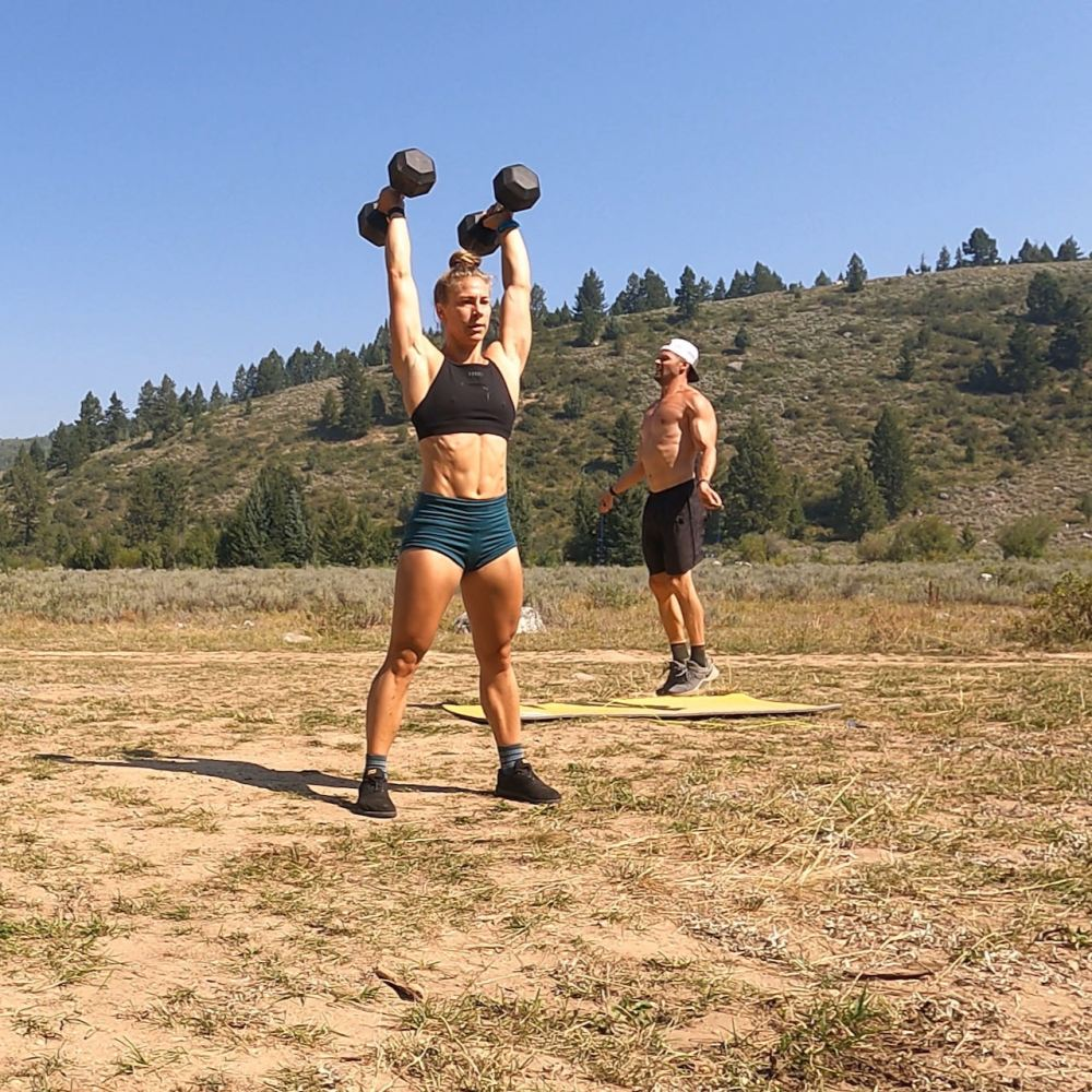 Emily and Joe doing a dumbbell workout in Teton valley. Our fitness journey never ends!