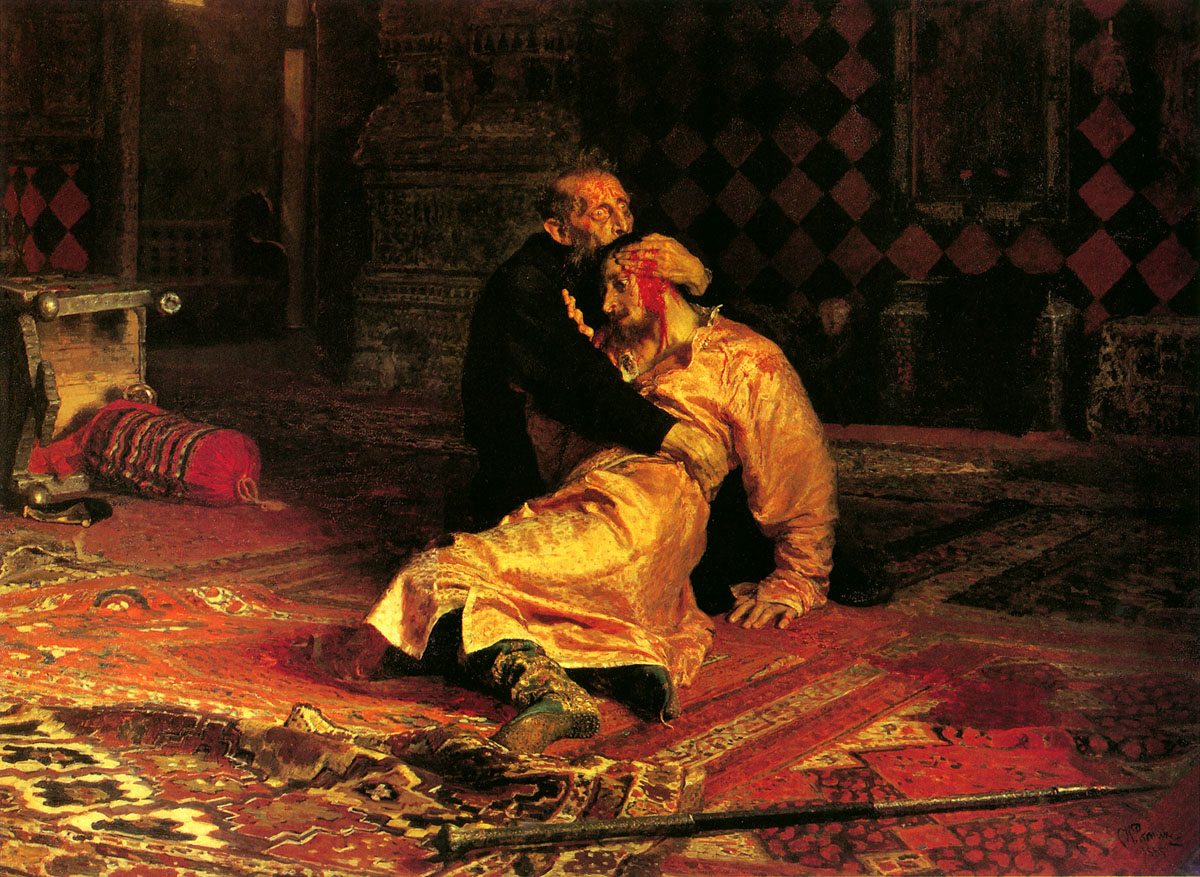 Ilya Yefimovich Repin (1844 - 1930)  Ivan the Terrible and His Son Ivan on November 16th, 1581  Oil on canvas, 1885  199.5 × 254 cm (78.54 × 100 in)  State Tretyakov Gallery, Moscow,  Russia