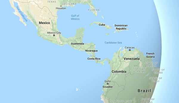 セントラル・アメリカの地図