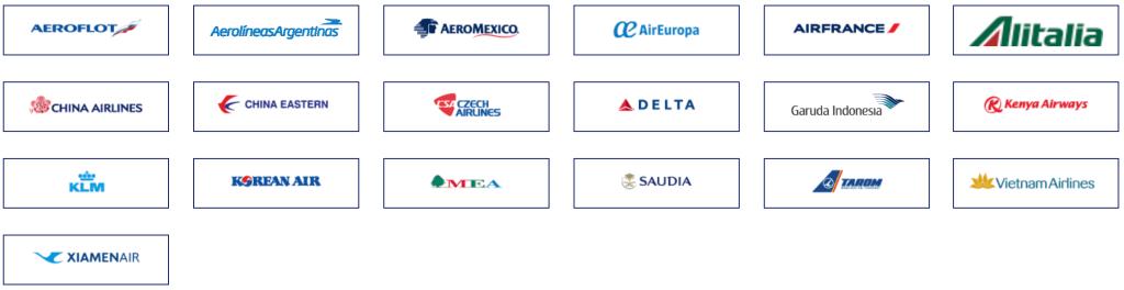 スカイチームの加盟航空会社一覧