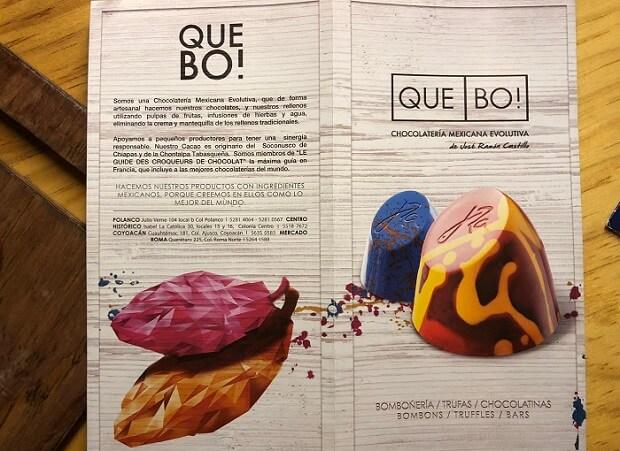 Que Bo!のチョコレートのパンフレット