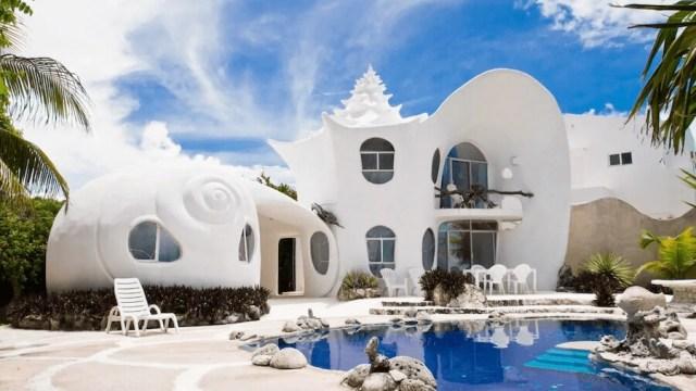 メキシコ、イスラムへーレス島のシェルハウス(貝殻の家)の外見1