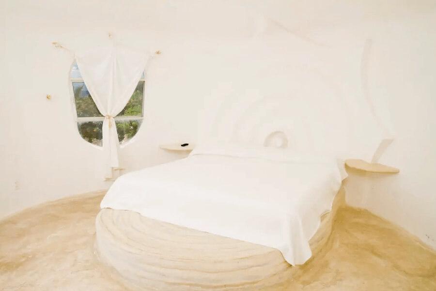 メキシコ、イスラムへーレス島のシェルハウス(貝殻の家)寝室1