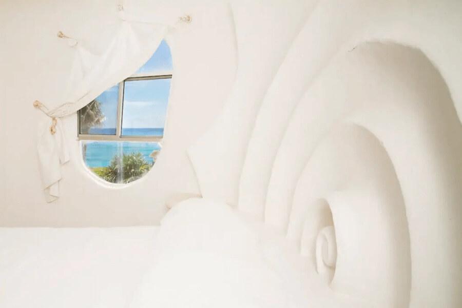 メキシコ、イスラムへーレス島のシェルハウス(貝殻の家)寝室4