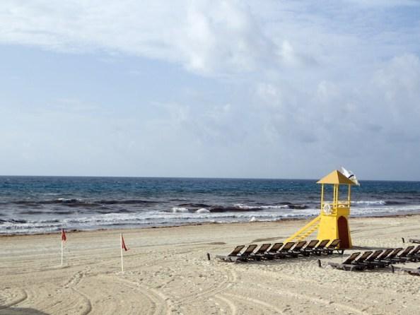 海藻まみれのカンクンのビーチ1
